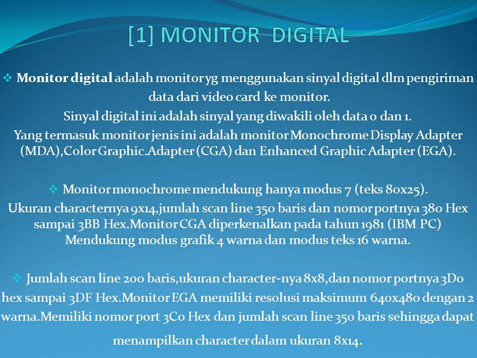 [1] MONITOR DIGITAL Monitor digital adalah monitor yg menggunakan sinyal digital dlm pengiriman. data dari video card ke monitor.